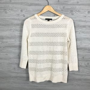 BR | Ivory Crewneck Stripe Eyelet Spring Sweater